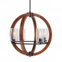 Grand Bank 4-Light Chandelier, Auburn Stained