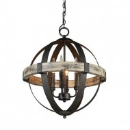 Castello Wood Wrought Iron 4 Light Chandelier