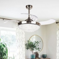 "42.5"" Brownesville 4 Blade LED Ceiling Fan with Remote, Chrome"