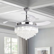 "46"" Broxburne Cool Light 4 Blade LED Ceiling Fan with Remote, Chrome"