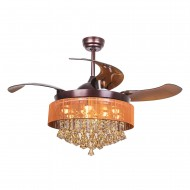 Retractable LED Ceiling Fan with Light and Remote, Bronze
