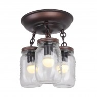 Mason Jar Ceiling Light Fixture, Oil Rubbed Bronze