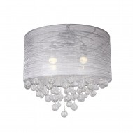 Modern 4-Light Ceiling with Clear Crystal Balls Flush Mount Chandelier
