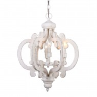 6 Light Crown Wooden Chandelier, Antique White