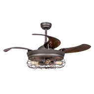 42 Inch Industrial Caged Ceiling Fan with Light and Remote Fandelier Retractable Blades, Antique Grey