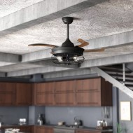 "36.5"" Belote Industrial 4 Blade Ceiling Fan with Remote, Black"