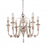 Salento 6-Light Wood Chandelier, Distressed Antique White