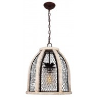 Scroll Distressed Pendant Light, Antique White