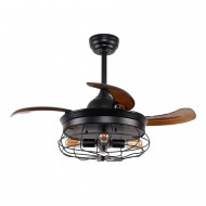 36 Inch Industrial Caged Ceiling Fan with Remote Control Fandelier Retractable Blades