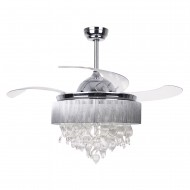 42 Inch Modern LED Chandelier Chrome Ceiling Fan with Lights Leaf Fandelier Invisible Retractable Blades