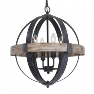 Castello 4-Light Chandelier, Weathered Oak Wood