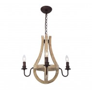 Rustic 4 Light Wooden Chandelier