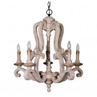 Wood Chandelier 5 Light Candle Style, Distressed Antique White