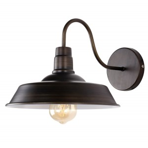 Industrial Barn Lamp Gooseneck Wall Sconce, Black