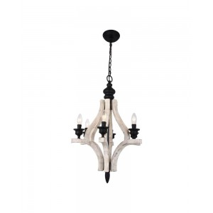 Harper 6-Light Wood Chandelier, Antiqued White