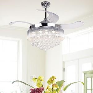"43"" Broxburne Cool Light 4 Blade LED Ceiling Fan with Remote, Chrome, Warm 2700K"