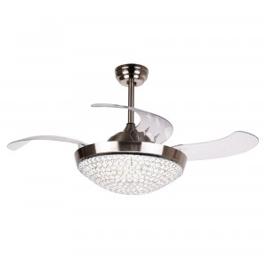 42 Inch Dimmable LED Crystal Chandelier Ceiling Fan with Lights and Remote Fandelier Retractable Blades, Chrome