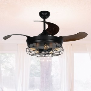 "42.5"" Benally 4 Blade Ceiling Fan with Remote, Black"