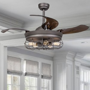 "42.5"" Benally 4 Blade Ceiling Fan with Remote, Antique Grey"
