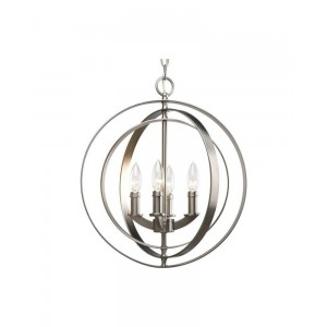Progress Lighting Equinox 4-Light Pendant, Burnished Silver