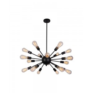 Industrial 18-Light Sputnik Chandelier, Black
