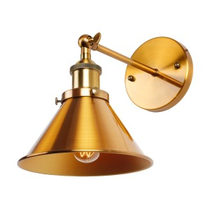 1-Light Wall Sconce With Metal Cone Shade, Brass