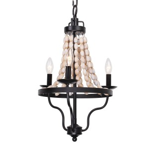 Nori 3-Light Wood Bead Chandelier