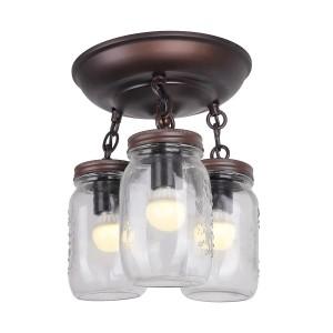 Mason Jar Ceiling Light Fixture, Oil Rubbed Bronze