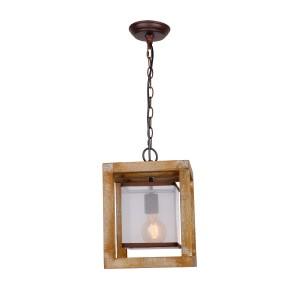 Farmhouse 1-Light Wood Pendant , Dark White
