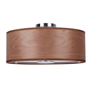 3-Light Walnut Flush Mount With Wood Shade in Chrome