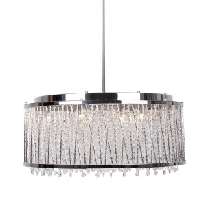 10-Light Crystal Chandelier With Drum Shade, Chrome