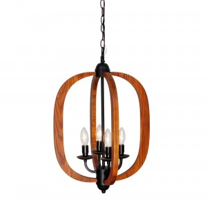 Arches Wood 4 Light Chandelier Oil-rubbed Bronze