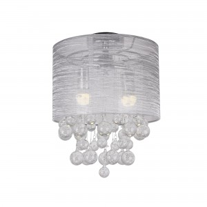 Modern 2-Light Ceiling with Clear Crystal Balls Flush Mount Chandelier