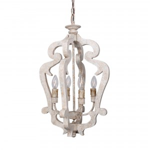 Lantern 4-Light Wood Candle-Style Chandelier
