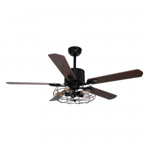 52 Inch Industrial Caged Ceiling Fan with Light and Remote 5 Wood Blades, Black