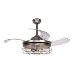 42 Inch Industrial Caged Ceiling Fan with Light and Remote Fandelier Retractable Blades, Satin Nickel