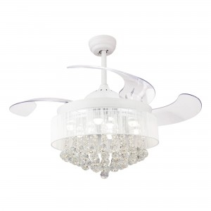 Chandelier LED Ceiling Fan with Retractable Blades and Lights, White