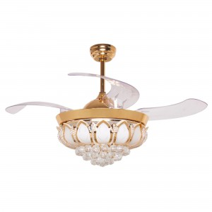 42 Inch Modern LED Crystal Chandelier Ceiling Fan with Lights and Remote Retractable Blades, Gold
