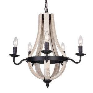 Barrel 5-Light Wood Chandelier, White