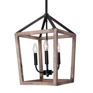 Gannet 4-Light Chandelier, Weathered Oak Wood