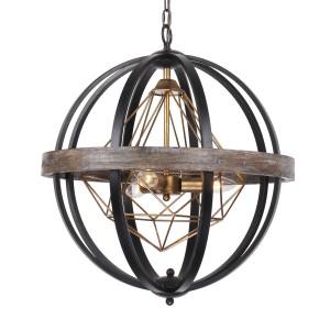 Polaris Industrial 3-Light Chandelier, Weathered oak wood