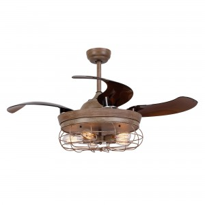 42 Inch Rustic Caged Ceiling Fan with Light and Remote Fandelier Retractable Blades, Weathered Oak Wood