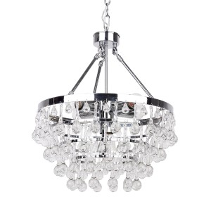 5-Light Crystal Glass Chandelier, Chrome Finish