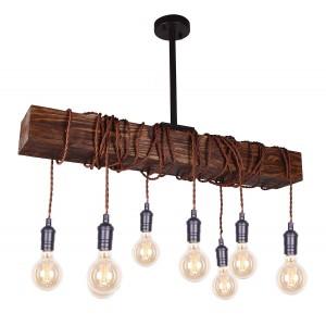 8-Light Wood Beam Chandelier
