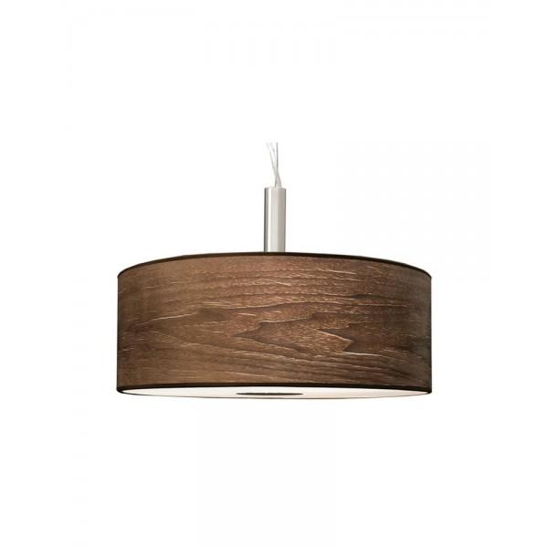 3 Light Drum Pendant Lamp With Walnut Wood Shade Whoselamp
