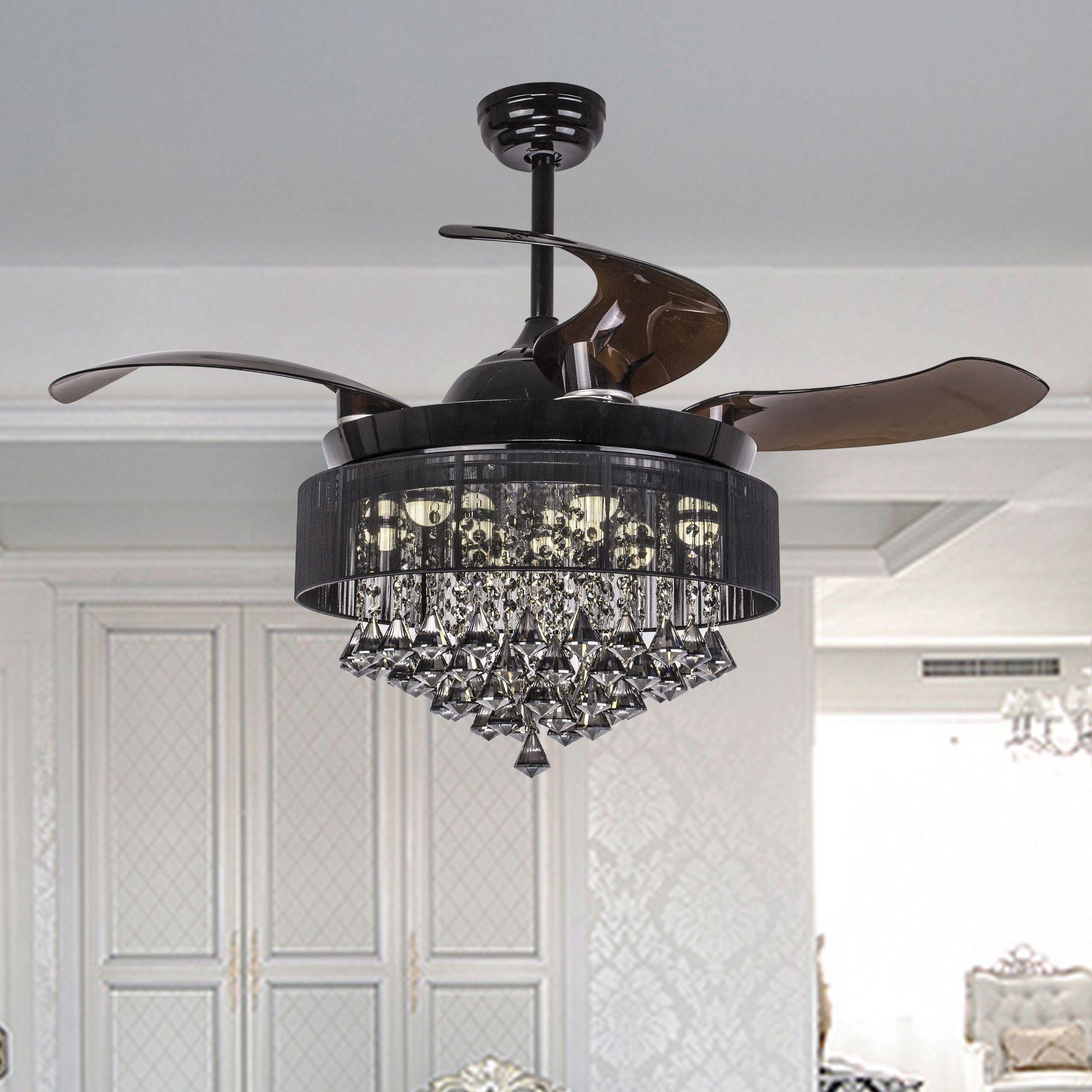 43 Birchley 4 Blade Led Ceiling Fan With Remote Black Chandelier Ceiling Fan Whoselamp