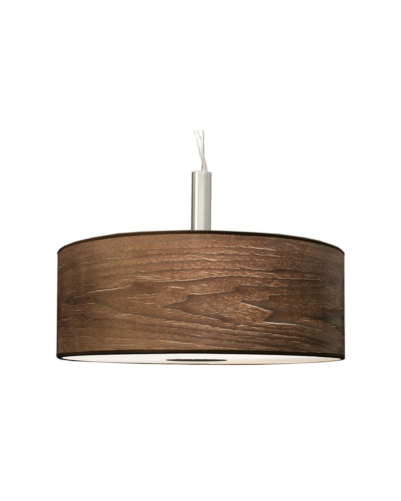 3 Light Drum Pendant Lamp With Walnut